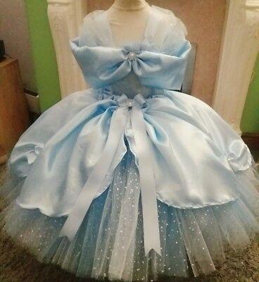 Cinderella fairytale luxury glitter tutu dress party princess blue satin wedding ()