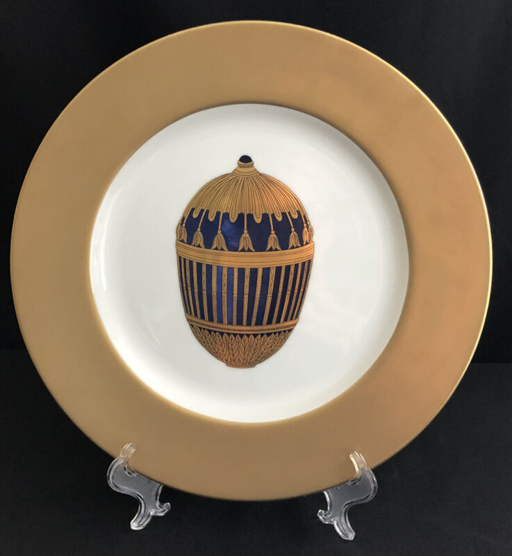 """FABERGE FINE CHINA ENAMELED GOLD COBALT IMPERIAL EASTER EGG 12"""" CHARGER PLATE"""
