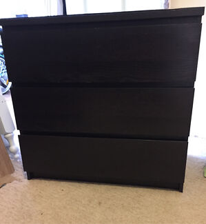 malm 3 drawer chest blackbrown with glass top