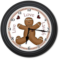 Gingerbread Man Wall Clock - Kitchen Home Primitive Country Live Love Xmas Decor