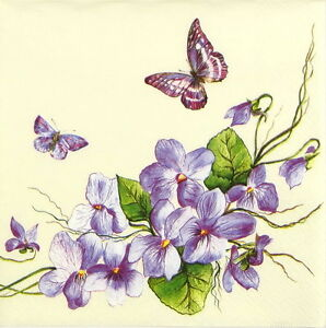 4x-Single-Luxury-Paper-Napkins-for-Decoupage-Craft-Vintage-Purple-Butterfly
