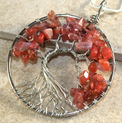 Family Tree Of Life Pendant Necklace  Red Agate Gemstone Chakra Wire Jewelry