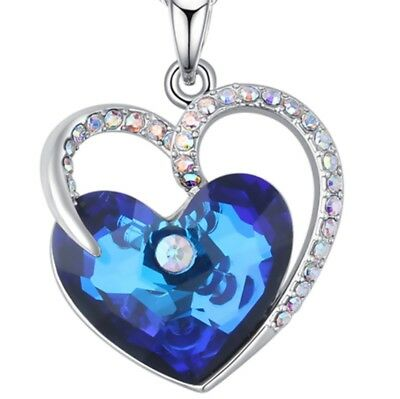 Heart Pendant Necklace Swarovski Crystal Blue Heart With Gift Jewelry Box