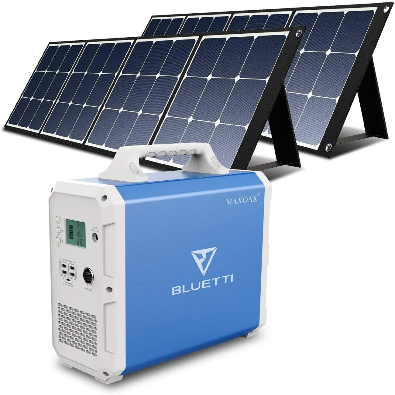 🔋⚡Maxoak Lithium Portable Power Station Bluetti 1500Wh 1000W 110V Solar Bundle