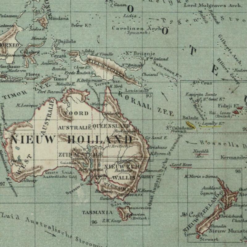 New Holland Australia Pacific Ocean Sandwich 1882 charming small Dutch old map