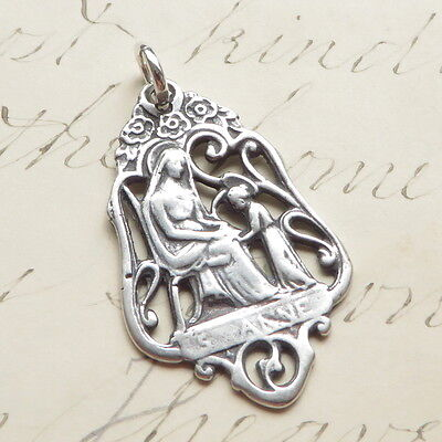 Sterling Silver St Anne Medal - Patron of mothers - Antique Replica ()