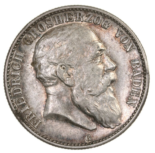 Raw 1904 G Germany Baden 2 Marks Circulated Silver German State Coin