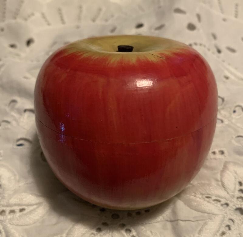 Vintage Cute Occupied Japan Treen Wood Apple Box Turned Wood Hand Painted