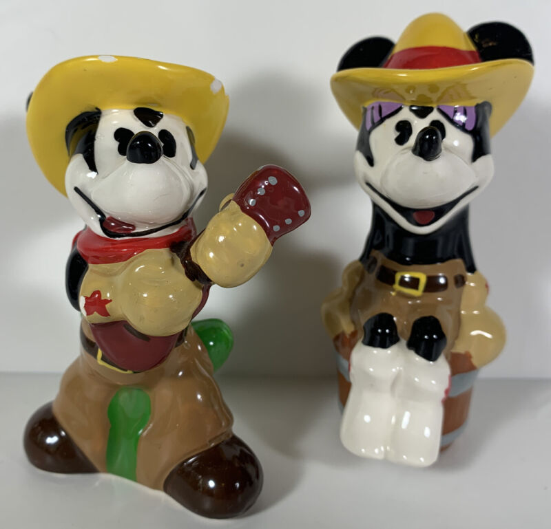 Western Cowboy Mickey and Minnie Mouse Salt and Pepper Shakers