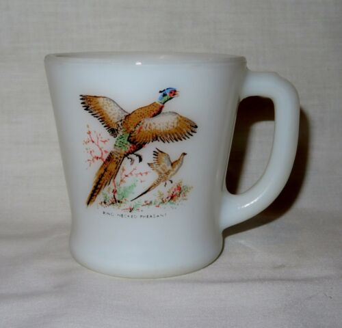 Vintage Fire King Oven Ware Rooster Pheasant Milk Glass Mug Cup Made In USA