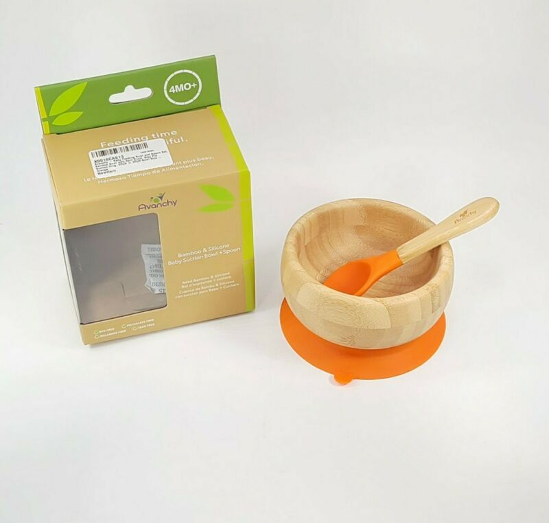 Avanchy Bamboo Suction Baby Bowl + Spoon - NEW
