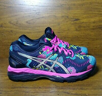 Asics Gel Kayano 23 Womens Running Shoes Size 6 Black Floral Sneakers T6A5N Pink