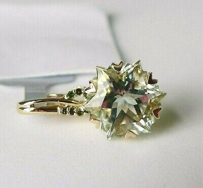 4.17Ct Wobito Snowflake Green Amethyst & Diamond 9K Gold Pendant, Certif 9k Gold Diamond Pendant