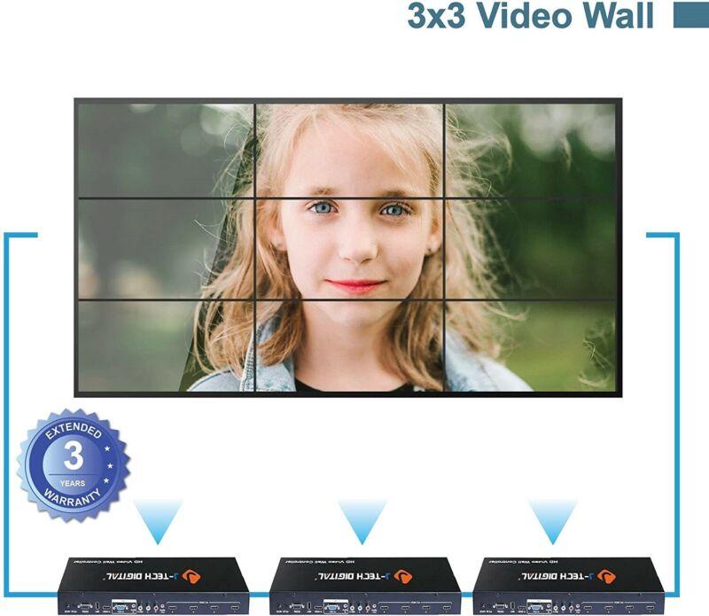 J-Tech Digital Video Wall Controller 3X3 2X2 1X4 3X1. Multi-Channel inputs