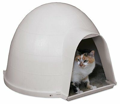 Cat House Outside Feral Igloo Warm Dry Shelter Durable Bed Carpeted Floor Indoor