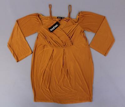 boohoo Women's Plus Dawn Slinky Cold Shoulder Wrap Dress SV3 Tan Size US:16 NWT