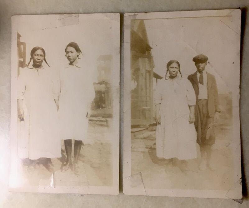Pair Vintage Original 30-40s Photos African American Man Cap & Women In Pigtails