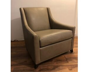 Grey leather West Elm Chair