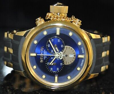 Men's Invicta Russian Diver Swiss Chronograph Blue Dial Steel & Poly Watch 5932