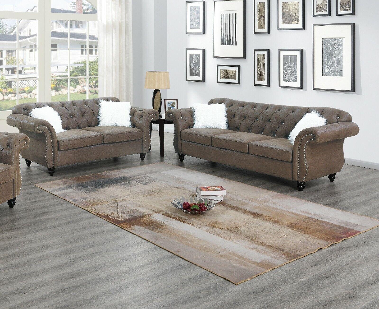 Living Room Furniture 2pc Sofa Set Dark Coffee Sofa Loveseat Chair Leatherette