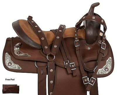 """15"""" 16"""" 17"""" BROWN SYNTHETIC WESTERN PLEASURE TRAIL HORSE SADDLE TACK"""