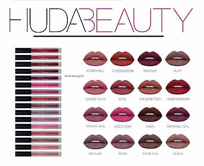New Huda Beauty Liquid Lip Matte Lipstick  Boxed UK Seller - 16 Shades UK SELLER