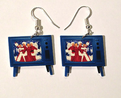 White Christmas Tv Earrings Bing Crosby Danny Kaye Television Charms