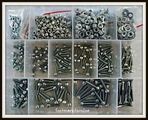 ZP Zinc Plated M3 M4 Socket Head 1120pce Allen Cap Screw Bolt Nyloc Washer Kit