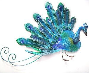 Peacock Metal Wall Art Big Large Ornament Garden Sculpture Plaque Glass Longtail