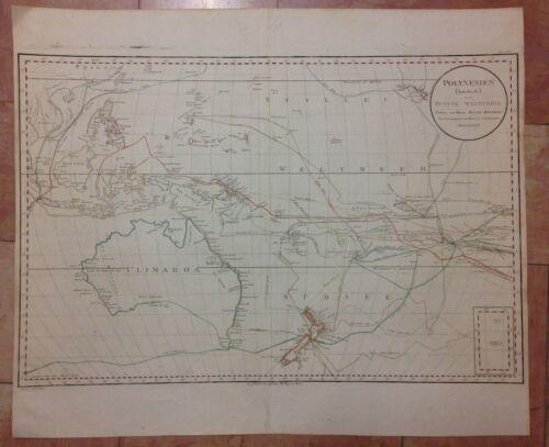 POLYNESIA AUSTRALIA 1789 DJURBERG/SCHRAEMBL VERY LARGE ANTIQUE MAP 18e CENTURY