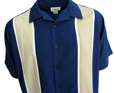 NWT Mens Button Down Camp Shirt Retro Bowling Blue Charlie Sheen Rockabilly XL