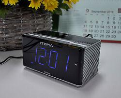 iTOMA Clock Radio, Bluetooth, FM, Auto Time Setting, Dual Alarm, USB Charging