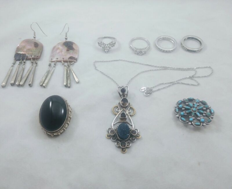 Sterling Silver Jewelry Lot  10K Gold Accents