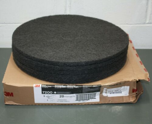 "(5) 3M Stripping Pad 7200, 20"" Diameter, 175-600 RPM, 3-3/4"" Center Hole, Black"