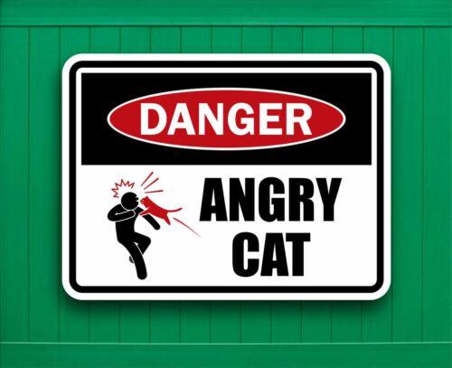 ANGRY CAT - Danger Sign - Aluminum Warning Placard - Fun & Unique Cat Decor