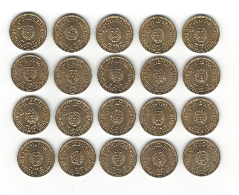 26. LEBANON WORLD COIN; 20 COINS UNC 1961 KM 7 5 PIASTRES GREAT FOR DEALER STOCK