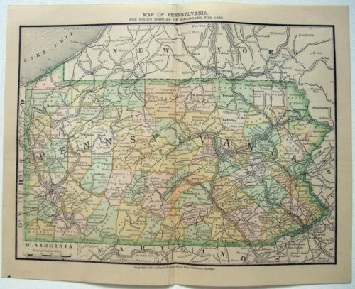 Original 1885 Railroad Map of Pennsylvania by Rand McNally. Antique