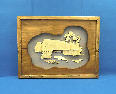 Framed 3D Etched Wood Picture of a Covered Bridge