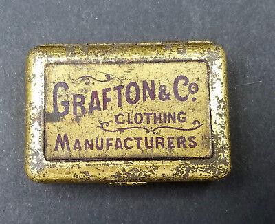 Vintage Bryant & Mays Wax Vesta Tin / Match Safe 1890 advertising Canada Grafton