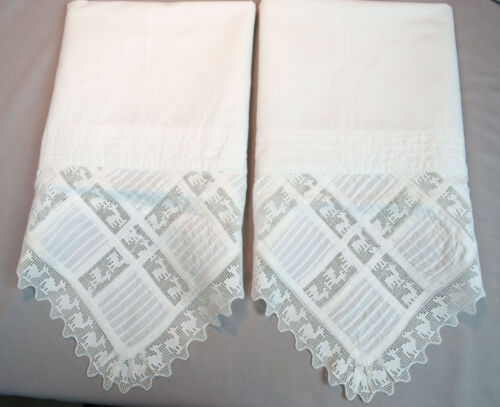 Antique Pillowcases With Pin Tucks + Figural Animals Filet Lace Edging