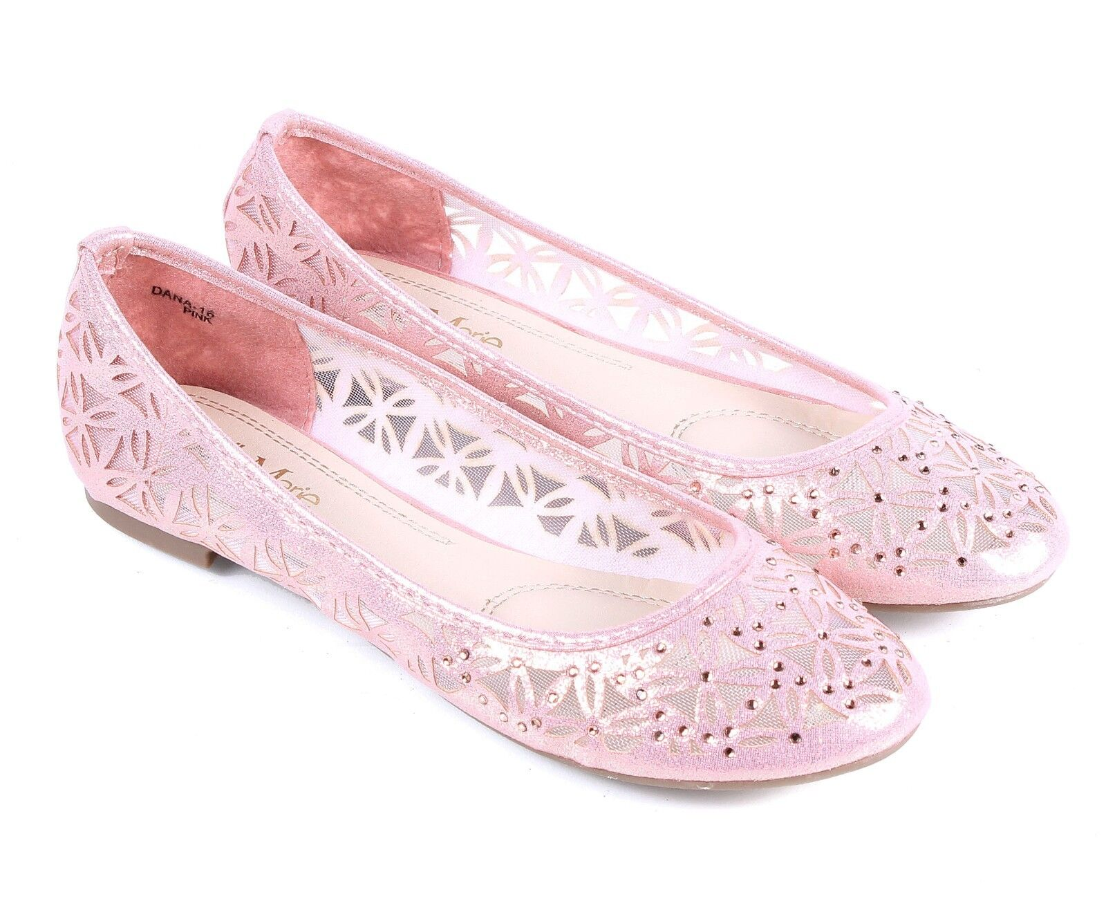 Champagne Leaf Shape Nets Glitter Kids Girls Flat Youth Dress Shoes Size 10