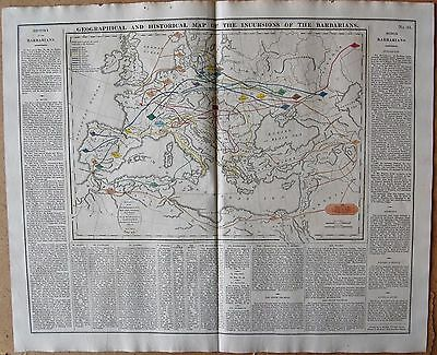 1829 ANTIQUE MAP- LAVOISNE- INCURSIONS OF THE BARBARIANS