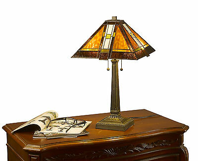 Tiffany Style Brown Mission Table Lamp Handcrafted 2 light 14