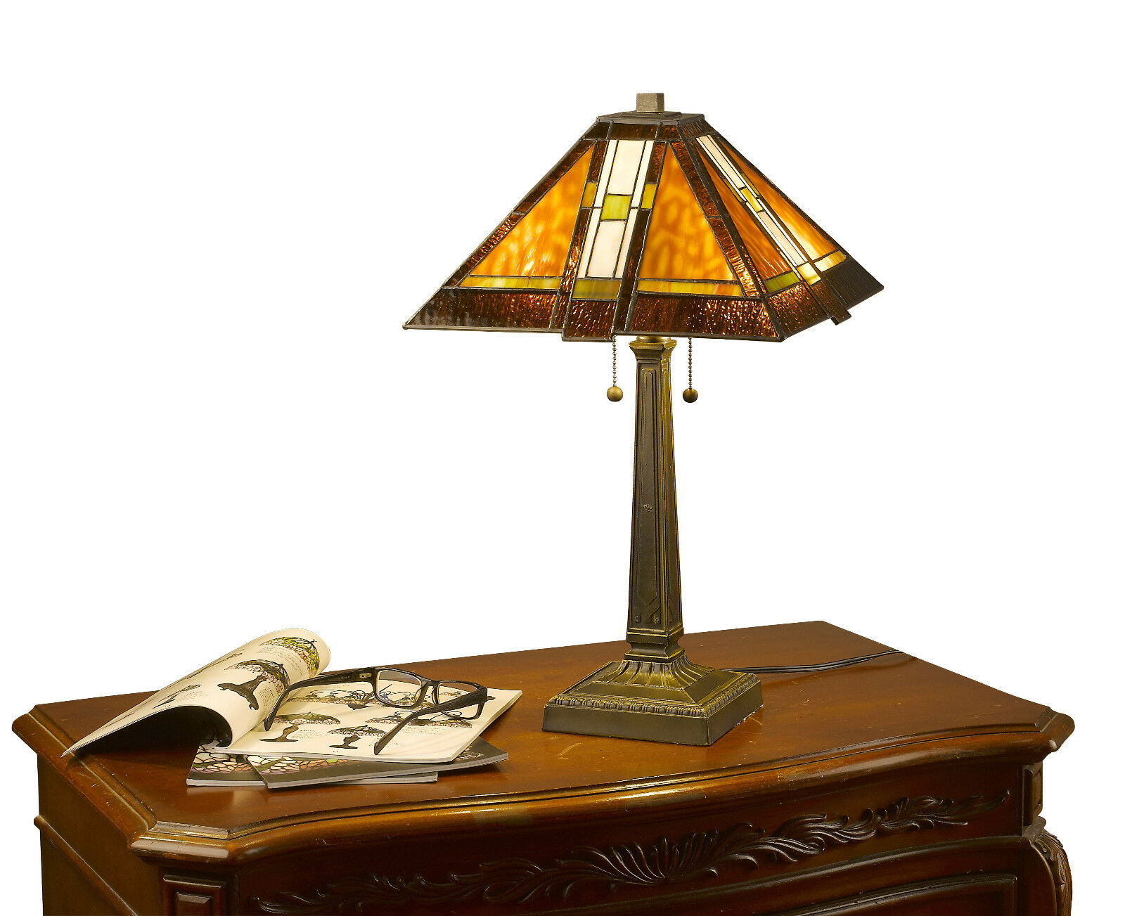Tiffany Style Brown Mission Table Lamp Handcrafted 2 light 1