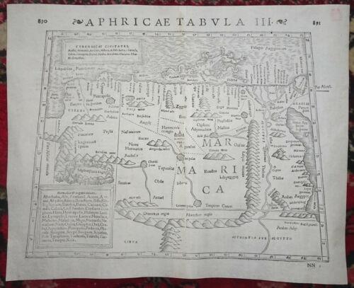SEBASTIAN MUNSTER MAP Libya Egypt AFRICA Aphricae Tabula Geographia Universalis