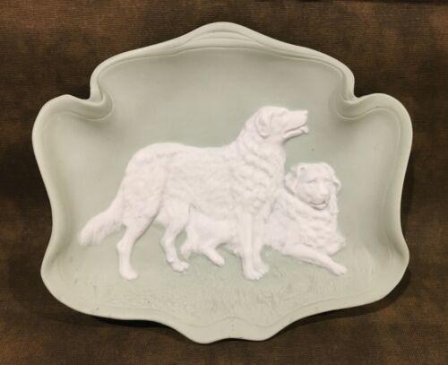 Antique Vintage Green & White Jasperware Plaque Great Pyrenees Dog Pair Germany