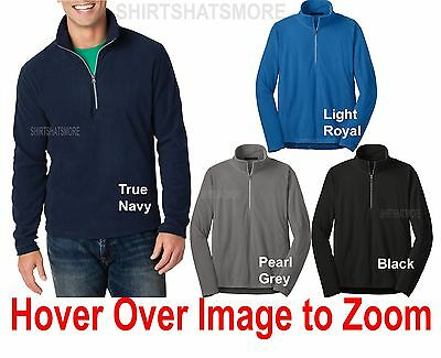 Mens 1/2 Zip Pullover Sweater Polar Microfleece Open Bottom Jacket XS-2X 3XL 4XL Microfleece 1/2 Zip Pullover