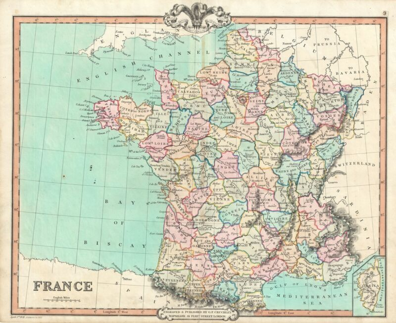 1850 Cruchley Map of France