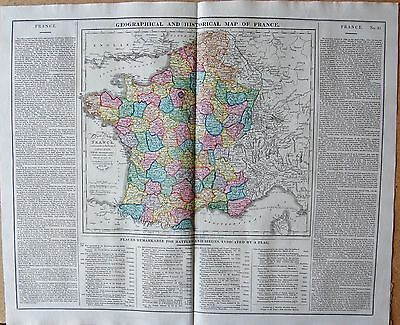 1829 ANTIQUE MAP- LAVOISNE-GEOGRAPHICAL AND STATISTICAL MAP OF FRANCE -BATTLES