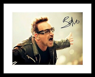 Bono 8x10 Signed Photo Print U2 Concert Picture Rock Band Music Autographed